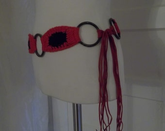 Red and Black Brass Tie-Belt - Leather Tassles - Knit / Crochet - Hipster