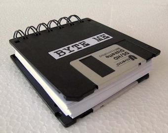 BYTE ME Floppy Disk Recycled Blank Mini Notebook in Black JUMBO