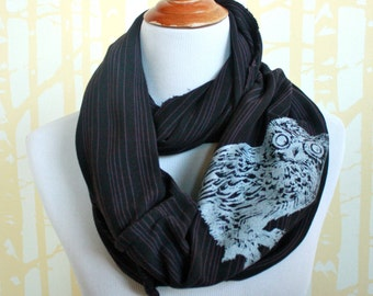 Screech Owl Infinity Scarf for him or her in silver on purple and black stripe organic cotton hand printed, American grown and sewn