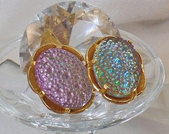 SUPER SALE Vintage Judy Lee Earrings.  Faux Dragon's Breath Fire Opal Art Glass Cabochon Earrings.  Gold Plated Pink Blue Judy Lee Earrings.