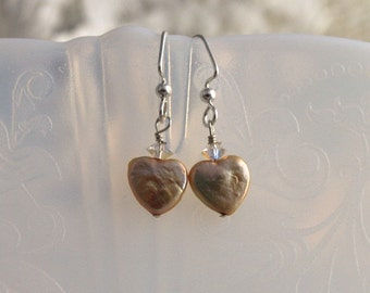 Fine Beaded Jewelry - HEART PEARL EARRINGS - Sterling Silver Ear Wires, Beige Cream Pearls Ready to Ship Made in Usa