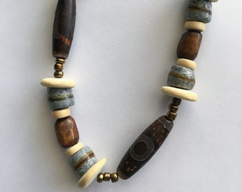 African Beaded Necklace, Brown & Beige Necklace, Bone and Wood Necklace