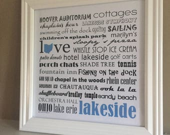 LAKESIDE ohio framed word art print  - personalize for the perfect gift!