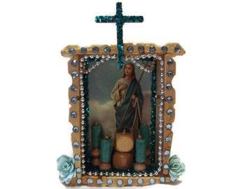 Mexican Wood Nicho, St Martha Picture, Mexican Shrine, Catholic Kitsch, Mexican Kitsch, St Martha Nicho, St Martha Altar, Prayer Card