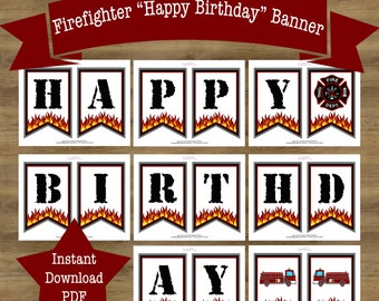 Fire Truck Birthday Banner;  Fireman Birthday Banner; Fire Truck Birthday Decorations; Firefighter Birthday Party; Fireman Birthday Party;