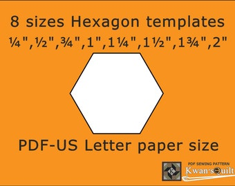 8 sizes Hexagon Templates - US letter, Instant downloaded PDF