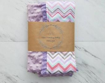Purple chevron minky baby blanket with purple eyelet lace trim,