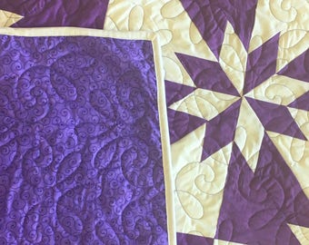 Unique Imperial Purple Star variation FINISHED QUILT - Great look and quilting