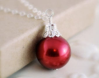 Christmas Ball Necklace, Silver Plated, Dark Red Glass Pearl, Fun Holiday Jewelry