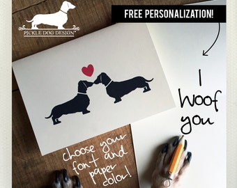 Doxie Love. Personalized Note Cards -- (Wedding Card, Romantic, Love, Heart, Dog, Sausage Dog, Dachshund, Vintage-Style, Weiner Dog, Rustic)