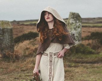 Hooded Capelet. Wiccan, Pagan,Celtic, Capelet, Vikings Capelet, Bridal Capelet, Fairy Capelet, Woodland Cape, Bridal cover up  Capelet