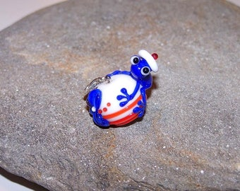"""Pendant """"o"""" frog sailor glass and 925 sterling silver"""