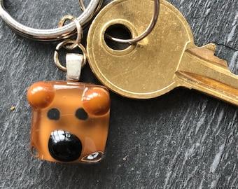 Teddy bear keyring, teddy bear gift, bear keyring, brown bear gift, wild animal gift