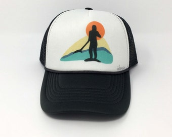 stand up paddle board sunset/sup hat/sup art/stand up paddle/paddle board hat/inkgypsy/custom trucker hat/hats by inkgypsy/wearable art
