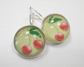 1 pair of earrings glass cabochon 18 mm cherry themed sleeper