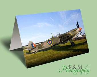 Spitfire Greeting Card, spitfire color colour photo blank card from original photograph by R&M Photography
