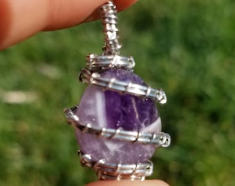 Amethyst Crystal Healing Necklace Pendant Natural, silver wire wrap
