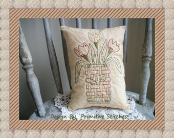 Basket of Tulips-Primitive Stitchery E-PATTERN-by Primitive Stitches-Instant Download