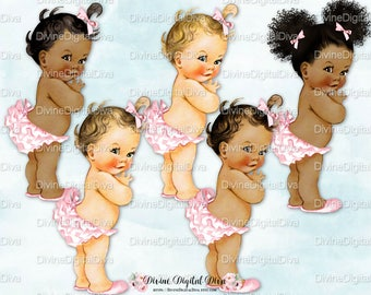 Princess Ruffle Pants Light Pink| Vintage Baby Girl | 3 Skin Tones Afro Puffs | Clipart Instant Download