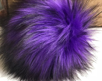 Purple Rain Plush Faux Fur Pom Poms  for Toques Beanies Hats Keychains Purse Fob Charm Vegan Fake Long Pile Craft Supply