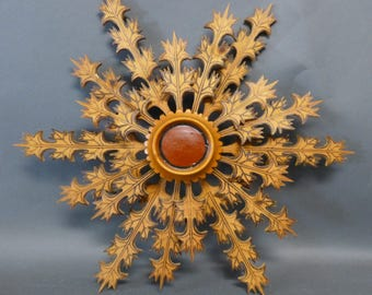 Hand Carved Wooden Polish Wall Sculpture, Stylized Star Shape