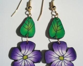 Purple flower earrings; fun polymer clay dangle earrings; gift; purple and white flower, green leaf; lightweight earrings