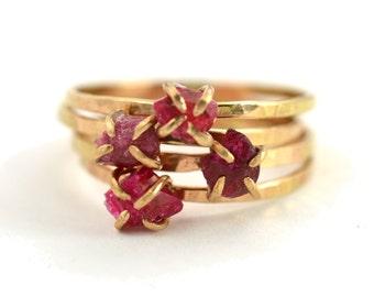 Raw Ruby Ring, Raw Gemstone Ring, July Birthstone Ring