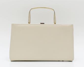 Ivory Leatherette Pocketbook Handbag - Vintage 1950s Off White Clutch