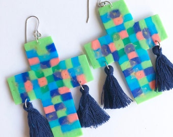 Mildred 'Maddie' Large Dangles, Statement Earrings, Light, Fun, Colourful