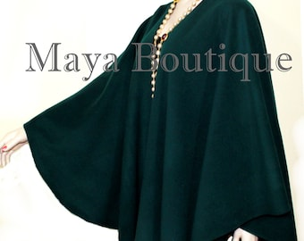 Forest Green Cape Ruana Wrap Coat Cashmere Wool Blend Maya Matazaro USA Made