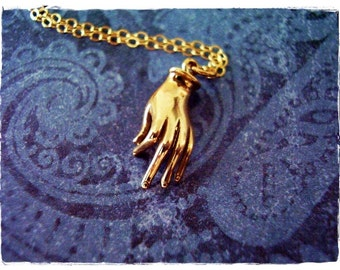 Gold Mudra Hand Necklace - Bronze Mudra Charm on a Delicate 14kt Gold Filled Cable Chain or Charm Only