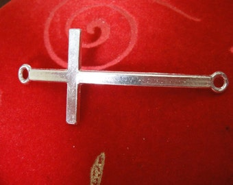 925 sterling silver large cross connector, silver cross charm, connector 1 pc., sterling silver sideways cross