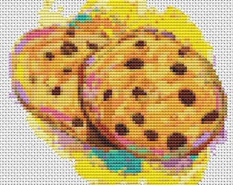 Cookie Cross Stitch Chart, Chocolate Chip Cookies Cross Stitch Pattern PDF, Art Cross Stitch, Kitchen Series, Embroidery Chart