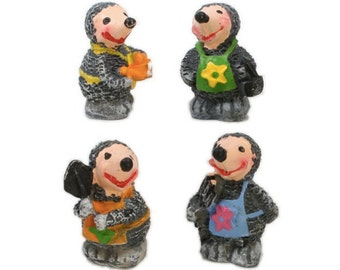 "Mice/ Mole Men Womble Looking Miniature Creatures/Miniature Animals/Ceramic Figures/ Mice Ornament - 1"" Tall - Set of Four! 800-2616"
