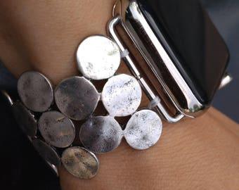 Women's Apple Watch Band 38mm Apple Watch Band Silver Apple iWatch Band 38 mm Women's iWatch Band Bracelet, Series I II III Fitted handmade