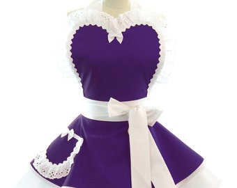 Retro Apron - Wedding Day Womans Aprons - Vintage Apron Style - Bridal Party Pin up Bridesmaid Royal Purple Rockabilly Cosplay Lolita