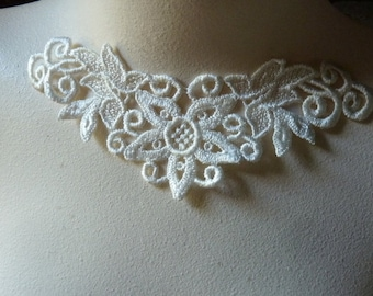 Ivory Lace Applique  American made for Necklaces, Jewelry, Bridal, Costume Design AM 13