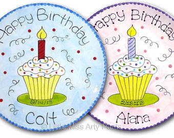 Personalized Birthday Plates - Happy Birthday Plate- 1st Birthday Plate- Hand painted Ceramic Birthday Plate- Swirly Frosting Cupcake Design