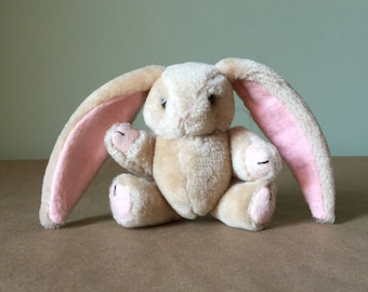 Small Stuffed Beige and Pink Bunny Rabbit