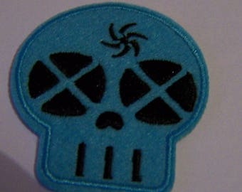 Skull patch embroidered patch applique cotton fusible blue