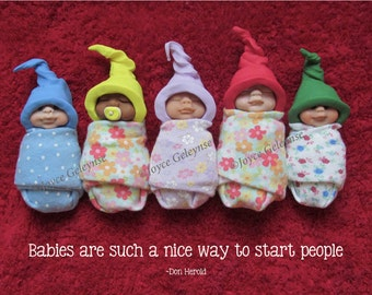 Polymer Clay Babies, Cute Poster with Humorous Quote by Don Herold, Card or eCard, Instant Download, You Print, Hats, Baby Sculptures