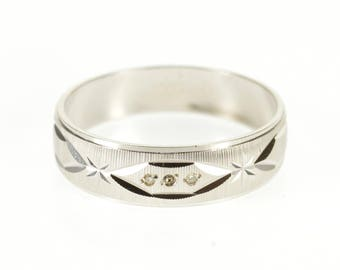14k Diamond Grooved Diamond Cut Patterned Band Ring Gold