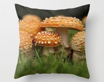 Amanita Mushroom Pillow Cover Mushroom Art...Nature Pillow Nature Photography Decor Nature Lover Woodland Scene