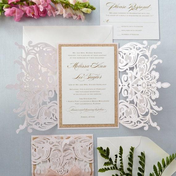 MELISSA ROSE GOLD Glitter - Blush Laser Cut Wedding Invitation with Rose Gold Glitter and Sheer Ribbon - Elegant Laser Cut Invite