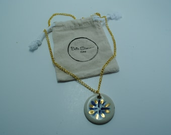 Handcrafted Ceramic Necklace   Circle Burst in Cobalt Blue with Real Gold Accents