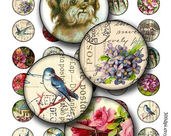 vintage postcard circles 1 inch round images Printable Download Digital Collage Sheet bird flower house diy jewelry pendant