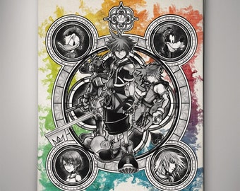Kingdom Hearts Stained Glass Print, Kingdom Hearts Poster, Kingdom Hearts Art, Kingdom Hearts Mickey Mouse Donald Duck Goofy