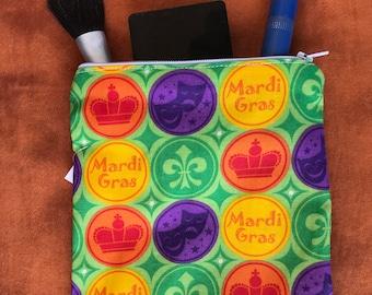 "Mardi Gras!  Make Up bag- handmade - zipper  lined- 6""X 7"""