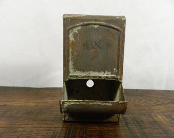 Vintage 1940's Metal Match Box Holder, Primitive Kitchen, Match Holder, Vintage Kitchen, Farmhouse Kitchen, All Original, Neat Piece!