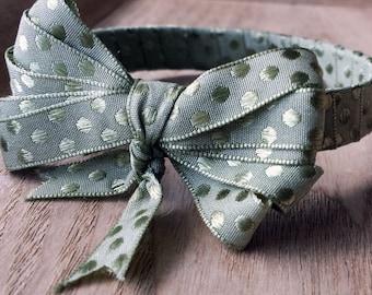 Green polka dot fabric bracelet